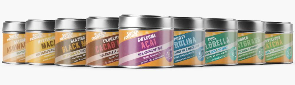 Superfoodies tins packaging