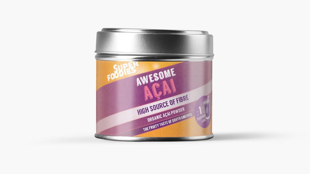 Superfoodies Acai label design