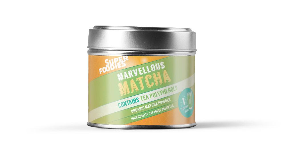 Superfoodies Matcha label design
